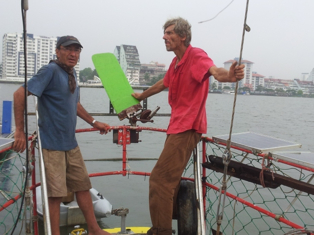 Ali (left) and captain Gerd planning out the self-steering