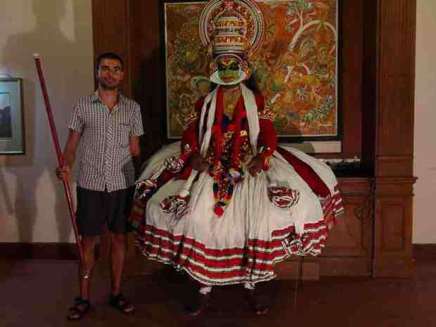 And me with a Kathakali traditional dancer. We attended a show organized for us at the place where we are staying. It takes 3 hours for the dancer to get prepared for the show.