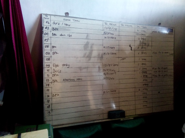"A typical registry of reservations in a Flores hotel. ""BPK(Bapak)"" means ""Man/Mr"", ""bule"" means ""foreigner"" (in this case that was me in room 10)"