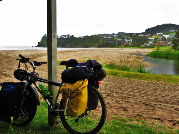 "Then it cleared out and in the morning I left early and rode along some nice beaches to Waipu (pronounced ""why poo"")."