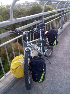 My bike in New Zealand was a Trek 800, a vintage frame from the 1990s. It had gone around NZ twice and I took it around a third time.
