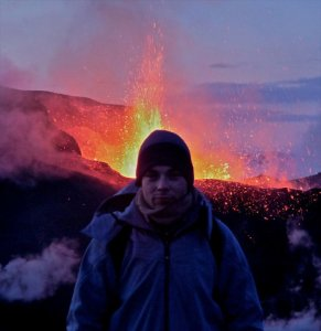 This is the eruption at Fimmvörðuháls in 2010, a couple of weeks before the famous Eyjafjallajökull eruption. Me and my friend Csaba hiked up for six hours in -15 Celsius to get there but  it was incredible. Now if you do the Fimmvörðuháls hike, you will pass over the little mountain created by the eruption. It was still warm last time I passed by.
